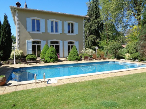 'Petit Chateau' with Barns, Summer House, tiled Swimming Pool, Tennis Court, Garden, Shrubbery and Park. 4ha.