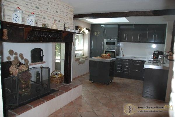 Open Kitchen with Fireplace