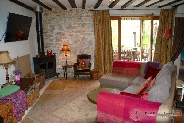 Showing the Wood Burning Stove & Doors onto the Terrace