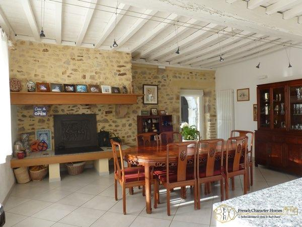 Dining Room with Open Fireplace